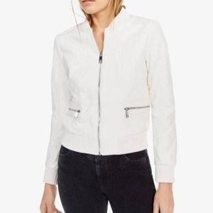NEW GUESS Melissa White Leather Bomber Jacket XL